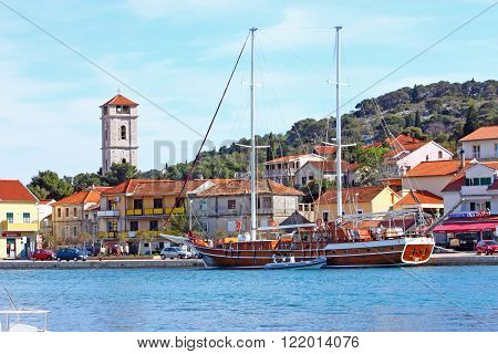 CROATIA TISNO 9 APRIL 2012: Tisno is a town located partly on mainland and partly on island of Murter Croatia