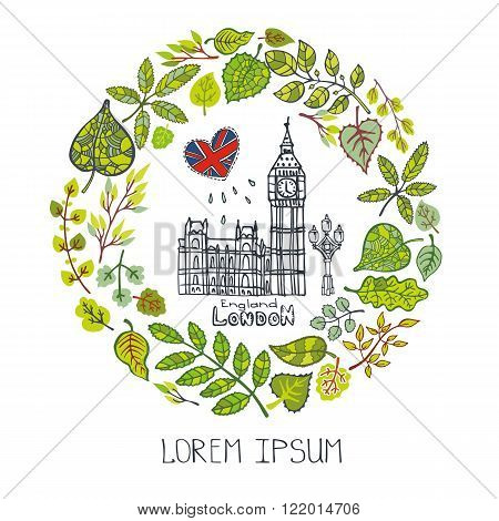 Spring in London.Famous landmarks with green leaves wreath, cicle compositions.Vintage Vector, doodle sketchy.Big Ben capital building art , symbol.Design template, Vector illustration.