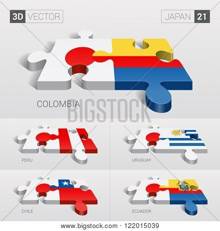 Japan and Colombia, Peru, Uruguay, Chile, Ecuador Flag. 3d vector puzzle. Set 21.
