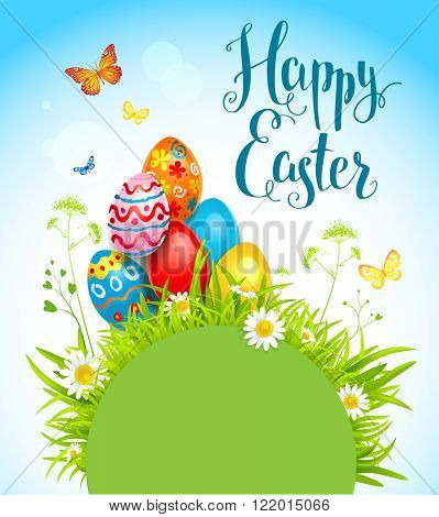 Easter spring holiday card with flowers and eggs. Background for design card, banner,ticket, leaflet and so on.Template page with handwritten inscription Happy Easter. Holiday card. Place for text.