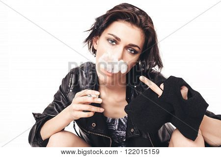 Sexy Girl Smoking Cigarette And Showing Middle Finger
