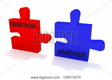 Red and blue puzzle question and answer on a white background