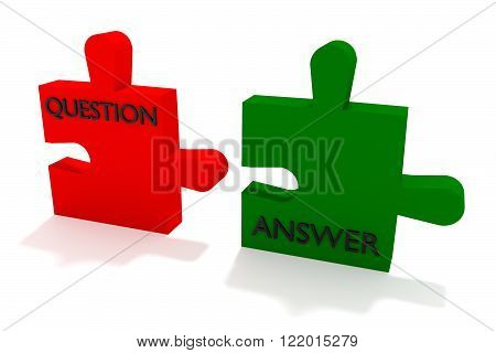 Red and green puzzle question and answer on a white background