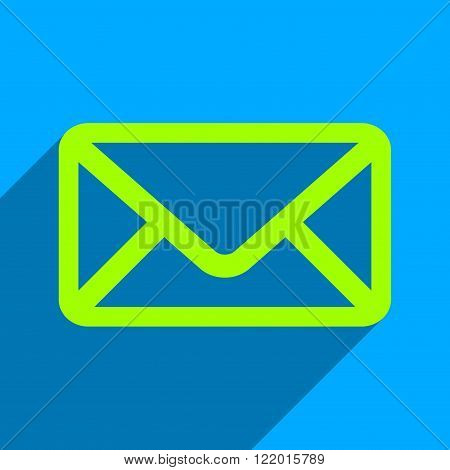 Envelope long shadow vector icon. Style is a flat envelope iconic symbol on a blue square background.