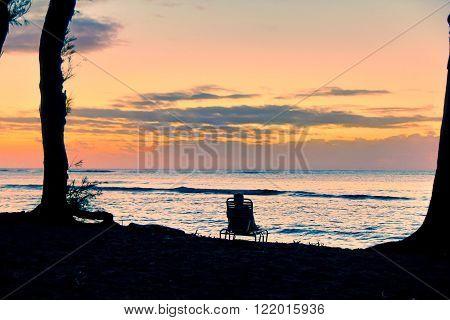 sweet beach sunrise at Kauai, Hawaii, USA