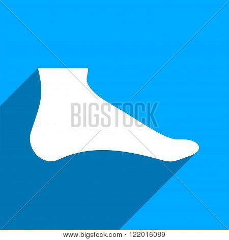 Foot long shadow vector icon. Style is a flat foot iconic symbol on a blue square background.