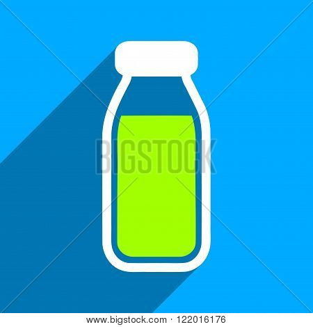 Full Bottle long shadow vector icon. Style is a flat full bottle iconic symbol on a blue square background.