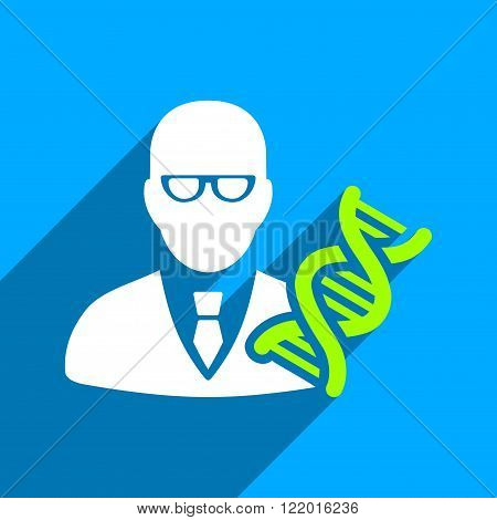 Genetic Engineer long shadow vector icon. Style is a flat genetic engineer iconic symbol on a blue square background.