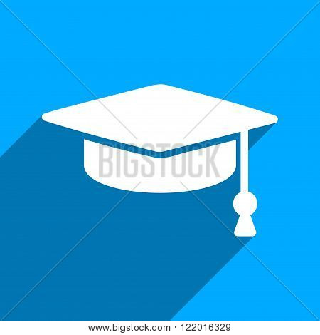 Graduation Cap long shadow vector icon. Style is a flat graduation cap iconic symbol on a blue square background.