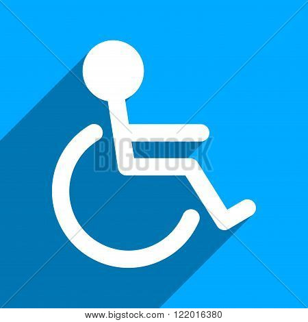 Handicapped long shadow vector icon. Style is a flat handicapped iconic symbol on a blue square background.