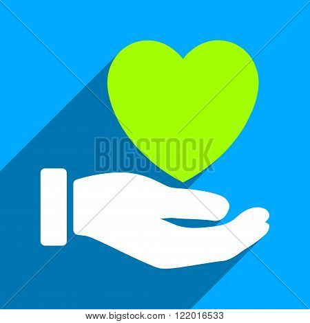 Heart Charity Hand long shadow vector icon. Style is a flat heart charity hand iconic symbol on a blue square background.