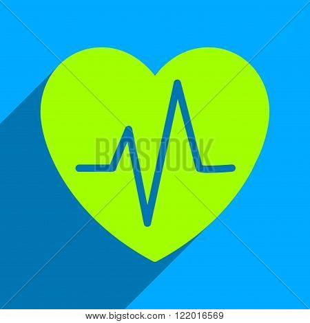 Heart Ekg long shadow vector icon. Style is a flat heart ekg iconic symbol on a blue square background.