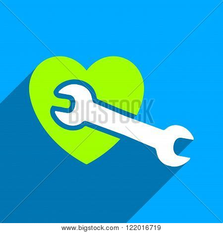 Heart Surgery long shadow vector icon. Style is a flat Heart surgery iconic symbol on a blue square background.