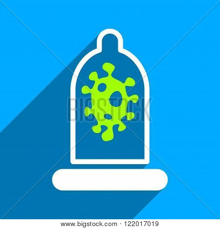 Infection Condom Protection long shadow vector icon. Style is a flat infection condom protection iconic symbol on a blue square background.
