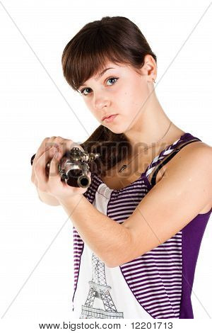 Beautiful Girl With A Gun Shooting Straight