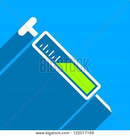 Injection long shadow vector icon. Style is a flat injection iconic symbol on a blue square background.