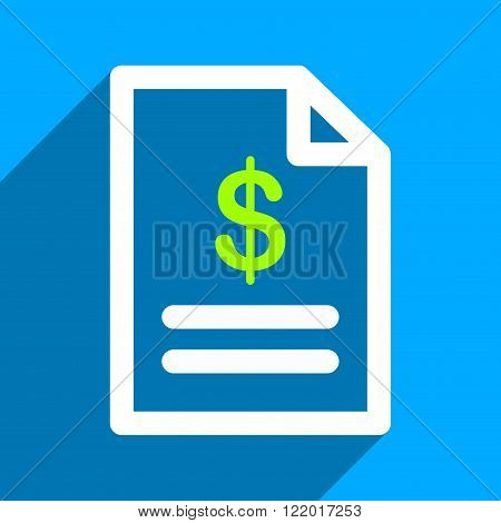 Invoice Page long shadow vector icon. Style is a flat invoice page iconic symbol on a blue square background.