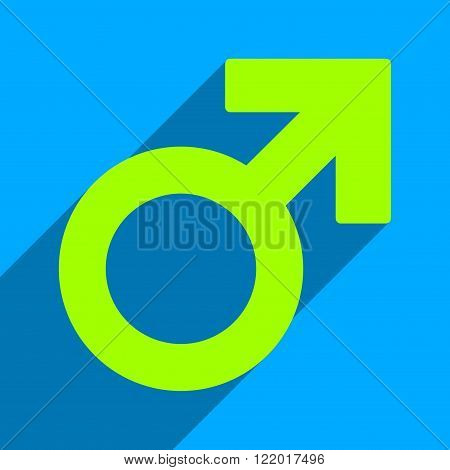 Male Symbol long shadow vector icon. Style is a flat male symbol iconic symbol on a blue square background.