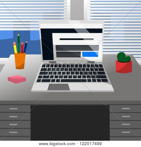 Cool Vector Advanced Study Room with a Laptop Pen Pencils Cute Cactus Pink Note Stickers on a Grey Desk and Windows with White Jalousie in Flat Design