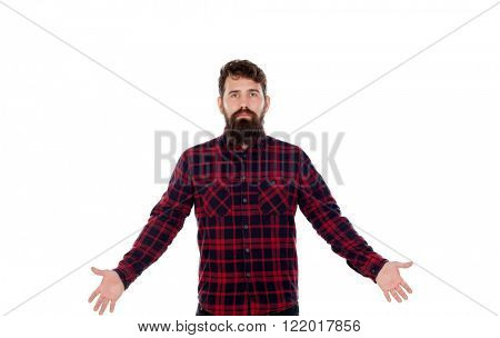 Handsome with long beard and extended arms isolated on a white background