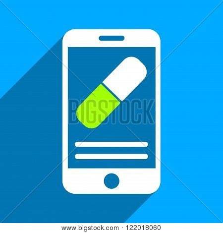 Medication Mobile Information long shadow vector icon. Style is a flat medication mobile information iconic symbol on a blue square background.
