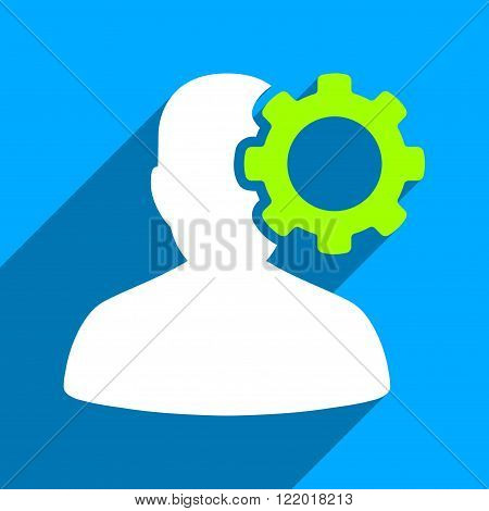 Migraine long shadow vector icon. Style is a flat migraine iconic symbol on a blue square background.