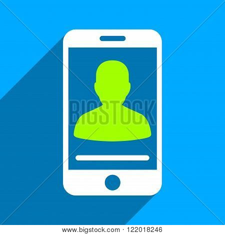 Mobile Contact long shadow vector icon. Style is a flat mobile contact iconic symbol on a blue square background.