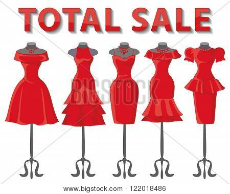 Woman dresses on mannequins set.Summer fashion party. Short skirt elegant red color design lady dress  collection.Vector art image illustration.Total Sale background, template