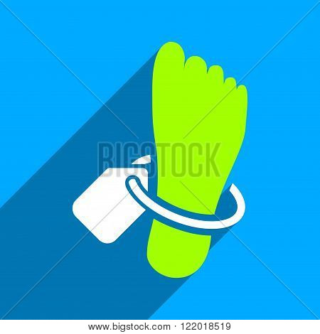 Mortuary Foot Tag long shadow vector icon. Style is a flat mortuary foot tag iconic symbol on a blue square background.