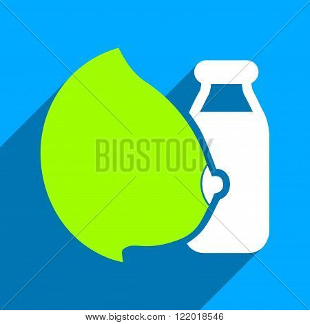 Mother Milk Bottle long shadow vector icon. Style is a flat mother milk bottle iconic symbol on a blue square background.