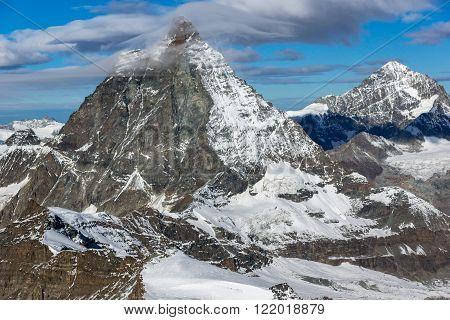 Winter panorama of mount Matterhorn, Canton of Valais, Alps, Switzerland