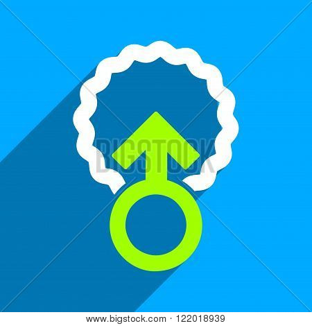 Ovum Penetration long shadow vector icon. Style is a flat ovum penetration iconic symbol on a blue square background.