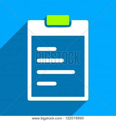Pad Text long shadow vector icon. Style is a flat pad text iconic symbol on a blue square background.