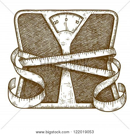 Vector engraving antique illustration of bathroom scale and measuring tape isolated on white background. Symbolizes a healthy lifestyle