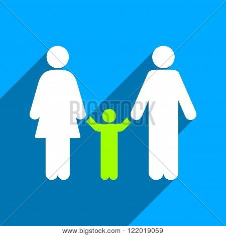 Parents and Child long shadow vector icon. Style is a flat Parents and child iconic symbol on a blue square background.