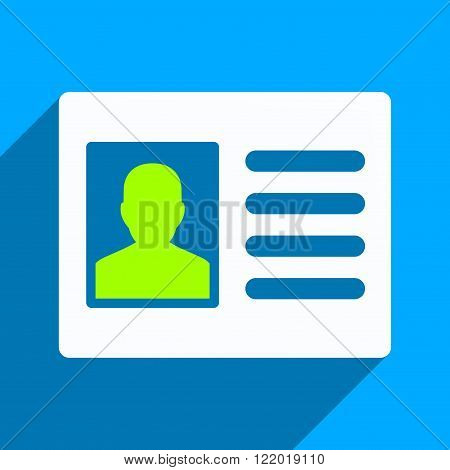 Patient Account long shadow vector icon. Style is a flat patient account iconic symbol on a blue square background.