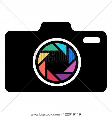 Black Camera icon with colorful lens. Vector