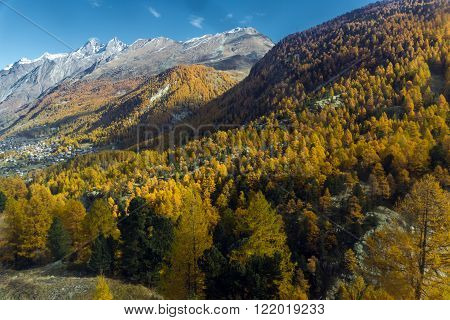 Amazing autumn panorama of Swiss Alps, Canton of Valais, Switzerland