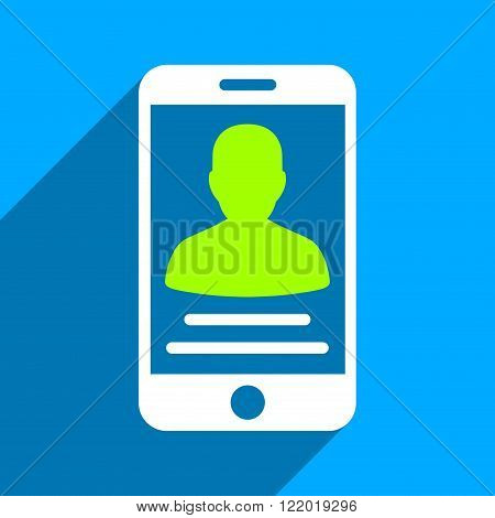 Patient Mobile Account long shadow vector icon. Style is a flat patient mobile account iconic symbol on a blue square background.