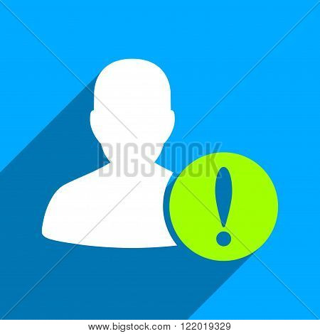 Patient Problem long shadow vector icon. Style is a flat patient problem iconic symbol on a blue square background.