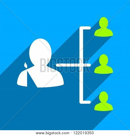 Patient Relations long shadow vector icon. Style is a flat patient relations iconic symbol on a blue square background.