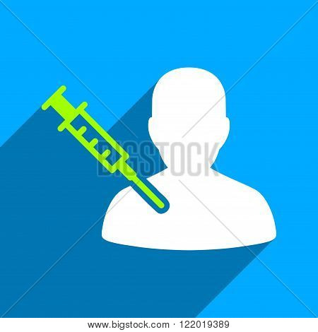 Patient Vaccination long shadow vector icon. Style is a flat patient vaccination iconic symbol on a blue square background.