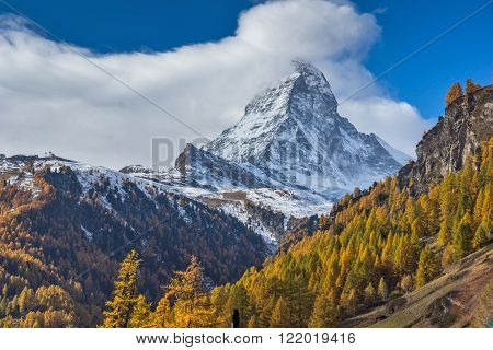 autumn Landscape of Mount Matterhorn, Canton of Valais, Switzerland