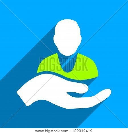 Person Assistance long shadow vector icon. Style is a flat person assistance iconic symbol on a blue square background.