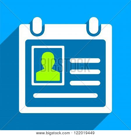 Personal Badge long shadow vector icon. Style is a flat personal badge iconic symbol on a blue square background.