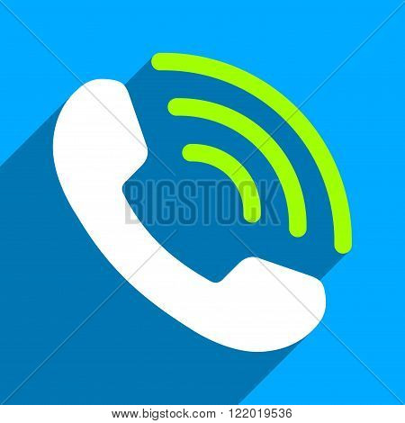 Phone Call long shadow vector icon. Style is a flat phone call iconic symbol on a blue square background.