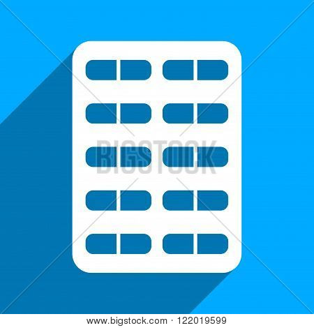 Pill Blister long shadow vector icon. Style is a flat pill blister iconic symbol on a blue square background.