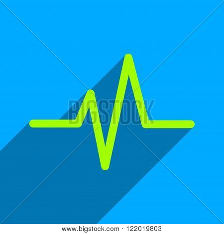 Pulse long shadow vector icon. Style is a flat pulse iconic symbol on a blue square background.