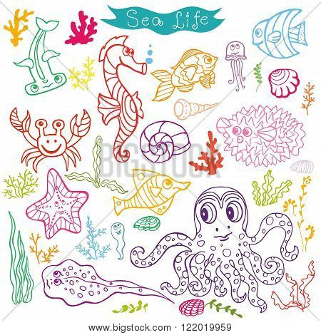 Sea life animals set.Fsh,  octopus, crab, seahorse with coral, seaweed and shell. Funny cartoon doodle underwater world. Baby hand drawing Vector . Summer travel, tropical linear composition .