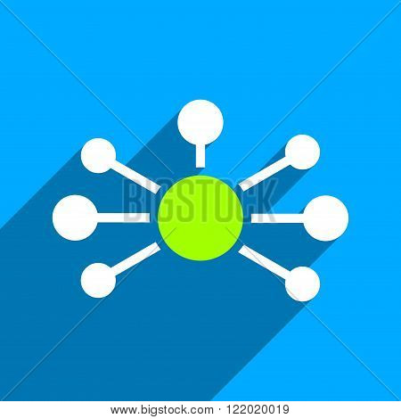 Relations long shadow vector icon. Style is a flat relations iconic symbol on a blue square background.